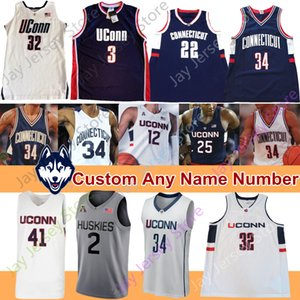 Özel 2020 Connecticut UConn Huskies Basketbol Jersey NCAA Kolej Akok Sidney Wilson Drummond Gay Kuzu Butler Gordon Hamilton Walker
