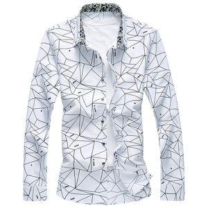 New Designer Plus Размер 7XL Spring Men Shirt Высокое качество Классические Формальные Геометрическая плед с длинным рукавом рубашки платья Mens