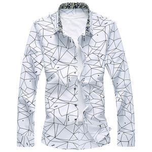 Neue Designer Plus Size 7XL Frühlings-Mann-Hemd-Qualitäts-klassische formale Geometric Plaid Langarm Kleid Shirts Herren