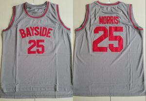 Mens # 25 ZACK MORRIS'California High School BAYSIDE JERSEY Film Basketball Jersey Grau genähtes Sport Uniform-Stickerei-Basketball Jersey