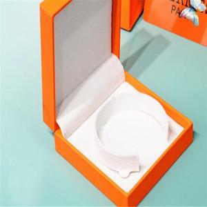 De alta qualidade caixa de jóias originais colar laranja pulseira caixa de embalagem dom conjunto com cartão de veludo bolsa saco