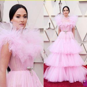 155 2020 Oscar Pink Plus Size Evening Dresses High Neck Tieres Prom Gowns Vestido De Festa Formal Celebrity Gown Abendklei
