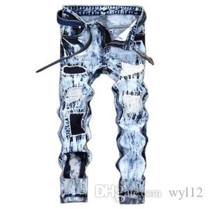 2019 Arm Mens Distressed Ripped Biker Jeans Slim Fit Motorcycle Biker Denim For Men Fashion Designer Hip Hop Mens Jeans Good Quality #167