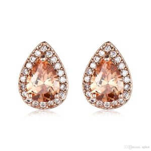 Luckyshien7 Color 10 par/lote nuevo regalo de vacaciones joyería en forma de pera Opal Stud Ear Gems 925 Sterling Silver Plated Zircon Stud pendiente de la boda