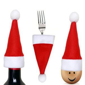 Weihnachten Mini Weihnachtsmütze Christmas Pocket Gabel-Messer-Besteckhalter Weihnachtsgeschirr Mini Organzier Neujahr Hüte Weihnachtsdekoration DHF531