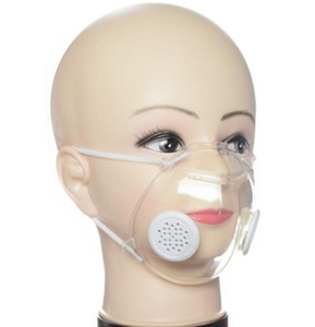 Transparent Face Mask With Valve PP Clear Mask With Double Breathing Valve Anti-Dust Washable Masks Deaf Mute Designer Masks GGA3538