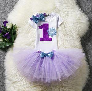 Unicorn Romper establece bebés de verano de un año de edad, Niños de cumpleaños que escalan mameluco + falda + diadema triángulo mameluco niña mamelucos de verano 1T