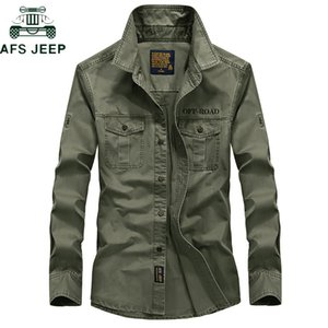 AFS JEEP Brand Military Army Shirt Men 2018 Spring Autumn 100% cotton Long Sleeve Mens Shirts Plus Size S-4XL Camisa Masculina MX200518