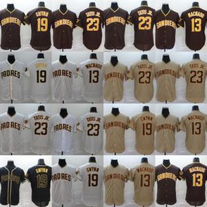 Erkek 19 Tony Gwynn Jersey San Diego 13 Manny Machado 23 Fernando Tatış Jr Tüm Dikişli Flex Bankası Soğuk Taban Beyzbol Formalar