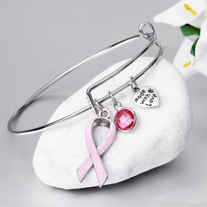 Ruban rose de cancer du sein Bracelets réglable Love Heart Bracelet pour les femmes Soins survivant Bijoux Cadeaux