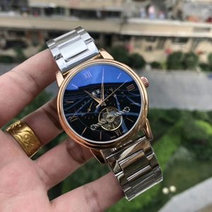 Men watch tourbillon skeleton Gold silver mens watches automatic mechanical watch men's clock stainless steel watches Relogios