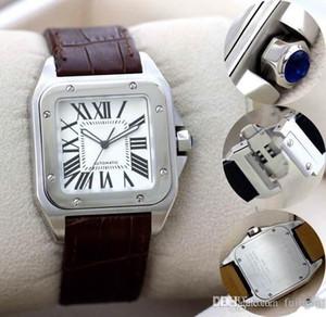 Nouveaux sports de haute qualité 100 XL Montre automatique de la qualité pour hommes mécanique Date de sports 40MM Brown Montres-bracelets en cuir