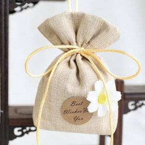 Daisies Flower Best Wish For You Cotton Linen Lavender Sachet Bag Small Tea Pouch Bedroom Deodorant Package Bridal Shower Favor Gift