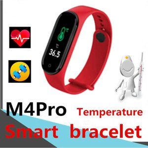 M4Pro Smart Bracelet Band 4 Fitness Thermometer Tracker Sport Heart Rate Blood Pressure Monitor Smart Band PK M3 Band 4 Forhead Gun Bracelet