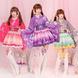 Quimono japonês floral do estilo do kawaii Meninas Yukata Haori Love Live Vestido Lolita por Mulheres Partido Yukata Dança Anime Cosplay