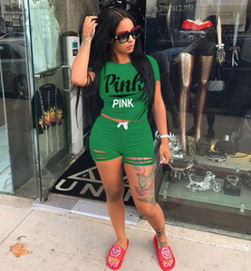 1 camiseta manga curta + 1 Calças curtas roupas cor de rosa das mulheres do estilo de Conjuntos Tracksuits Meninas Ladies Casual Correndo Suit Vestuário Adulto Sportswear