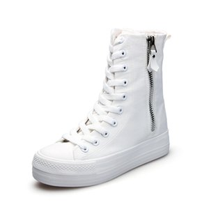 Spring all black high-top thick bottom increased canvas women's wild casual street shooting dance board shoes fashion design
