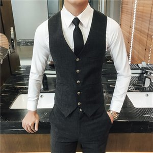Мужские жилеты 2021 осенний бизнес жилет жилет мужчина и брюки азия размер S M L XL XXL XXXL костюм Slim Fit Mens + брюки