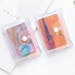 Transparent Laser PVC Carte de crédit Porte-femmes carte organisateur Case Wallet Mode Effacer Passeport Cartes Sacs de rangement