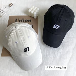 Cap ins women's summer thin 87 digital sticker baseball cap fashionable hat sunshade hat black and white hat