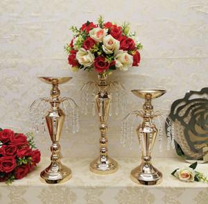 Ev Partisi Çiçek Vazo Metal Çiçek Sahipleri Düğün Masa Centerpieces Dekorasyon Props için Şeklinde Kristal Kolye Çeşmesi Standı mum