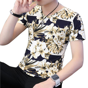 MISSKY 2019 New Summer tshirt For Men Fashion T Shirt Short Sleeves V Collar Stretch Slim Young Men Tops Male Clothes