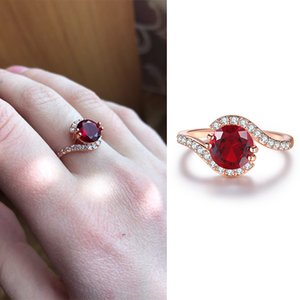 2020 Red & Clear Crystal Wedding Rings for Women Rose Gold Color Cubic Zirconia Fashion Jewelry gift R389