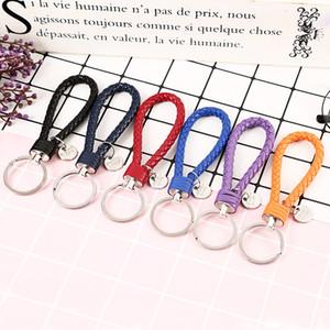 PU porte-clés en cuir tressé tissé corde Porte-clés Sac pendentif porte-clés Porte Hommes Femmes Porte-clefs voiture avec Tag GGA2822