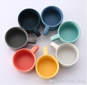 Macaron matte frosted ceramic coffee cup continental breakfast mark couple milk tea cup arched coffee set 015