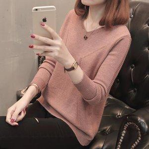 نيو ستايل 5colors بلوزات أكبر من الحجم v-neck color block basic womens sweats and pullovers fz1790