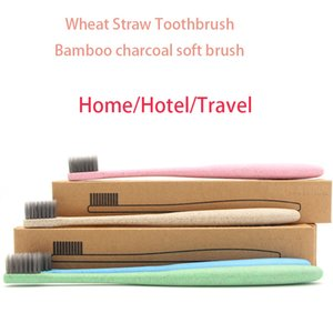 Portable Travel toothbrush for hotel Couple Adult Brush Japanese small head toothbrush environmental wheat straw charcoal deep clean