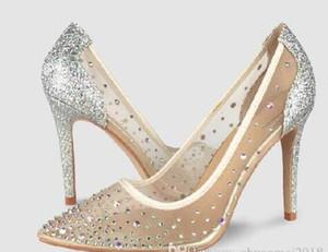 Voir au travers Rouge Bas Talon haut Silver Bling Fashion Design Femmes Pompes été strass soirée de mariage Stiletto talons minces Chaussures