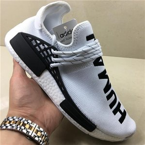 Williams R1 Race Human Nmd Stock Pharrell X Hu Men Women Running Shoes Triple Black WhiteAXNV
