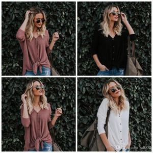 السيدات الكبس تي شيرت 6 اللون soild طويلة الأكمام سترة صوفية قميص الربيع شارع الأزياء Bardian الرئيسية الملابس 23yl E1