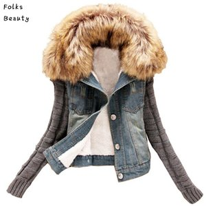 Wholesale- 2017 New women's Autumn Denim Jacket Women winter Coat slim yarn large fur collar lamb cotton denim outerwear jeans 4XL