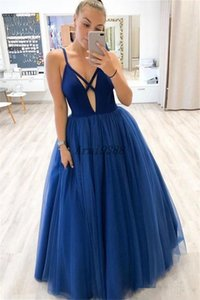 Sexy Royal Blue A Line V Neck Cross Straps Back Prom Dresses Tulle Formal Evening Party Gowns Cocktail Party Dress Vestidos De Soiree