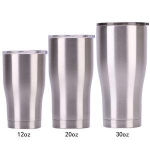Edelstahl-Trommel-Schale mit Deckel 30 20 12 Oz Doppelwand-Vakuumflasche Insulated Beer Cup Trinken Thermosflaschen Kaffee VT0225