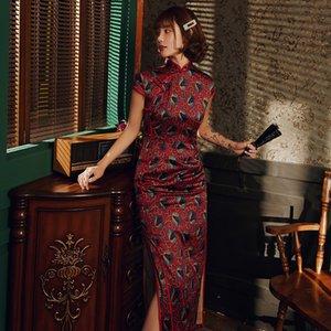 빈티지 Qipao 레드 새틴 인쇄 꽃 중국 스타일 중국어 드레스 만다린 칼라 섹시한 슬림 치파오 높은 분할 참신 Vestidos