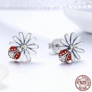925 Flor Margarida de Prata Red Ladybug brincos por Mulheres presente brincos zircão moda China jóias por atacado brincos