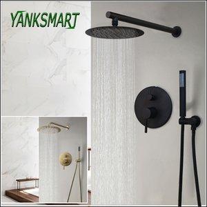 YANKSMART salle de bains douche robinet tête à la main Sets de douche ronde mur de pluie Mounted mitigeur froide et chaude mitigeur T200612
