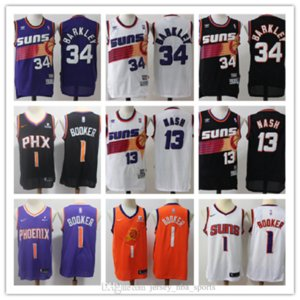Mens Devin 1 Booker 34 Charles Barkley 13 Steve NashFénixSoles Ayton 20 # Josh Jackson jerseys del baloncesto Blanco Negro púrpura
