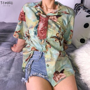 Harajuku Cupid Melek Baskı Yaz Kadın Bluz Vintage Casual Gevşek Kısa Gömlek Kadın Streetwear Tops
