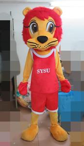 das beliebteste rote Löwe-Maskottchenkostüm grüner Anzug POLE STAR MASCOT COSTUMES