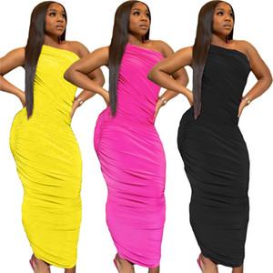 Womens une épaule Stacked Slim Fit manches longues Robes d'été Famale Vêtements Solid Color
