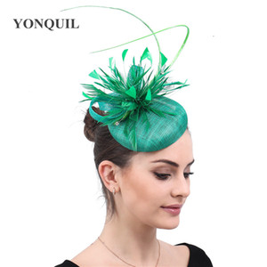 Womens Feathers Headwear Cap Fedoras Dress Fascinator Green Sinamay Hat Party Wedding Occasion Ladies femele hair accessories free ship