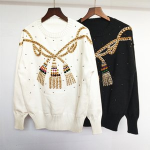 2019 New Spring and Autumn European knit sweater heavy beaded embroidery loose foreign style wear fairy sweater trend