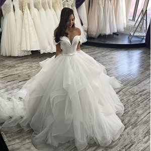 Vestido De Noiva 2020 Ball Gown Wedding Dresses Off The Shoulder Corset Ruffles Organza Plus Size Wedding Party Dress For Bridal