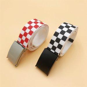2019 Waistband 130cm110cm Black White Plaid Belt Canvas & Accessories Checkerboard Belts Cummerbunds Canvas Waist Belts Casual Checkered