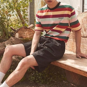 Pleasures Color Striped Tee Crew Neck T-shirt Trend Shirt Striped Men Women Couple Street Casual Summer Fashion Top Two Colors HFHLTX031