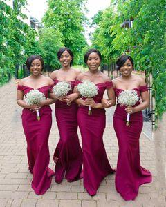 2020 atractivo simple Borgoña sirena vestidos de dama de Hombro Apliques tapa del cordón del tren del barrido más el tamaño de huésped de la boda Vestidos de dama de honor